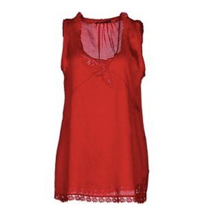 Twin-Set Simona Barbiere Red Silk & Lace Camisole